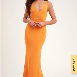 Melora Orange Sleeveless Maxi Dress